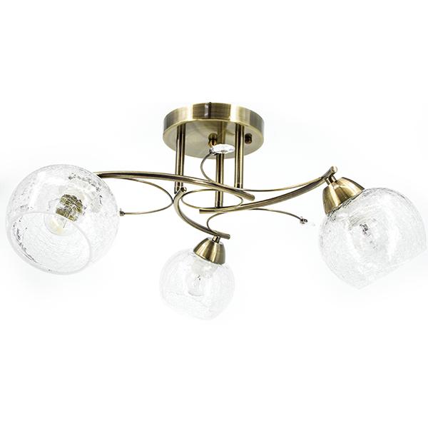 Klasyczna lampa w kolorze miedzi ze szklany kloszem