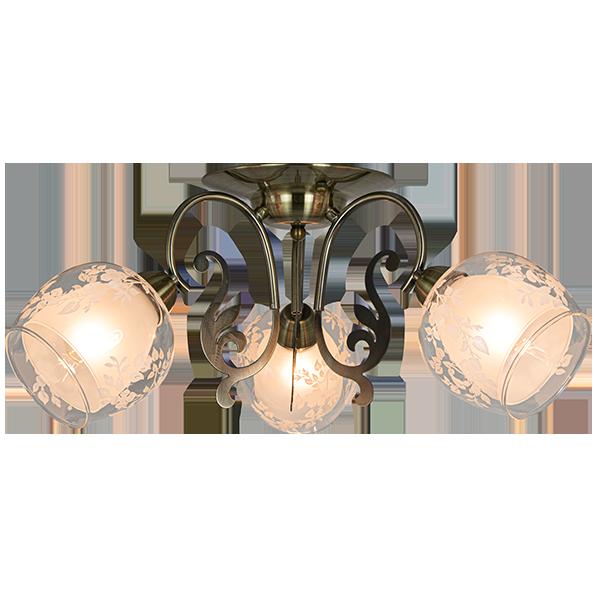 Lampa z dekoracyjnym szklanym kloszem z ornamentem