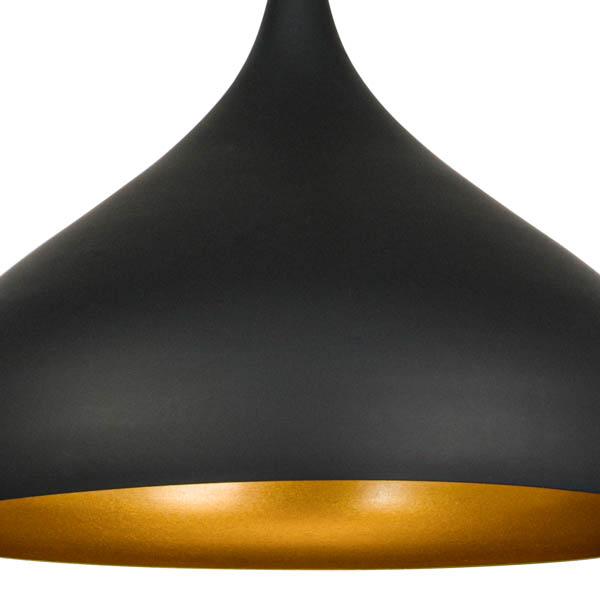 Czarny klosz w lampie kuchennej