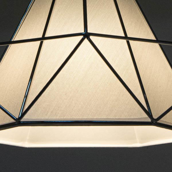 Zbliżenie na splot abażura nowoczesnej lampy