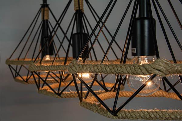 Ujęcie detali w lampie w stylu skandynawskim
