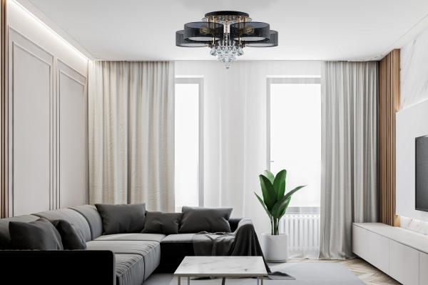 duży plafon LED z ozdobnymi kryształkami