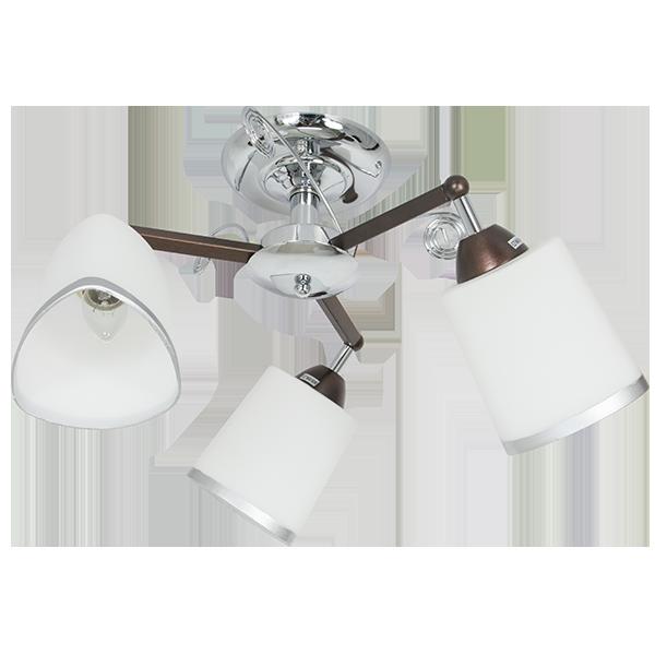 klasyczna lampa sufitowa z kloszem na bazie trójkąta