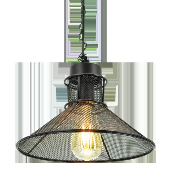 wisząca lampa loftowa z kloszem z siatki