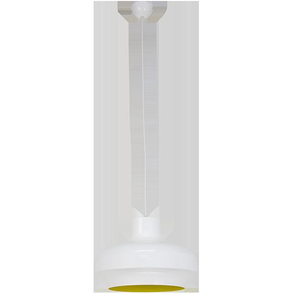 wisząca lampa vintage z białym błyszczącym kloszem