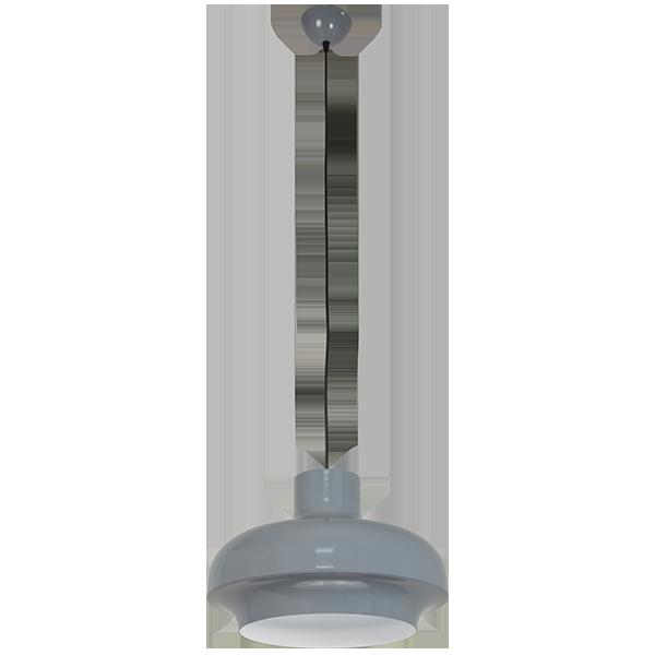 wisząca lampa z szarym kloszem vintage