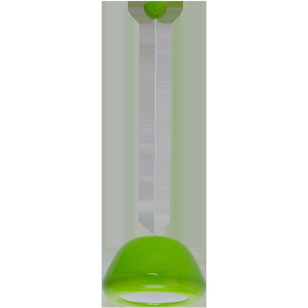 wisząca lampa z zielonym kloszem