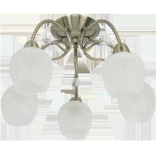 klasyczna lampa z pięcioma kloszami biały mat