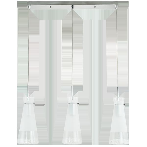 lampa wisząca z koszem w kształcie stożka