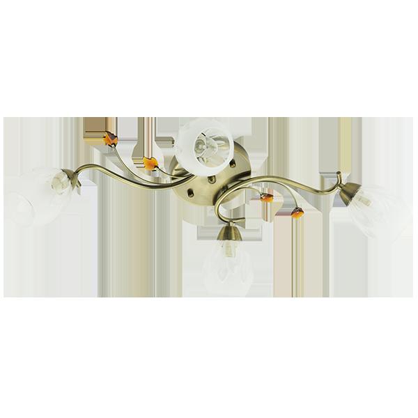 klasyczna lampa sufitowa w kolorze mosiądzu