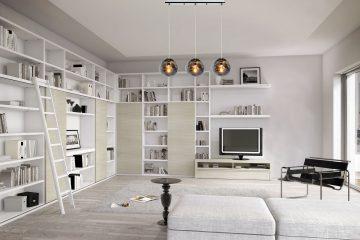 wizualizacja nowoczesnego wnętrza z wiszącą lampą